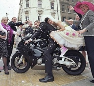 bride on her bike rock and roll