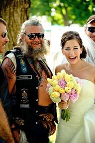 bride and biker wedding